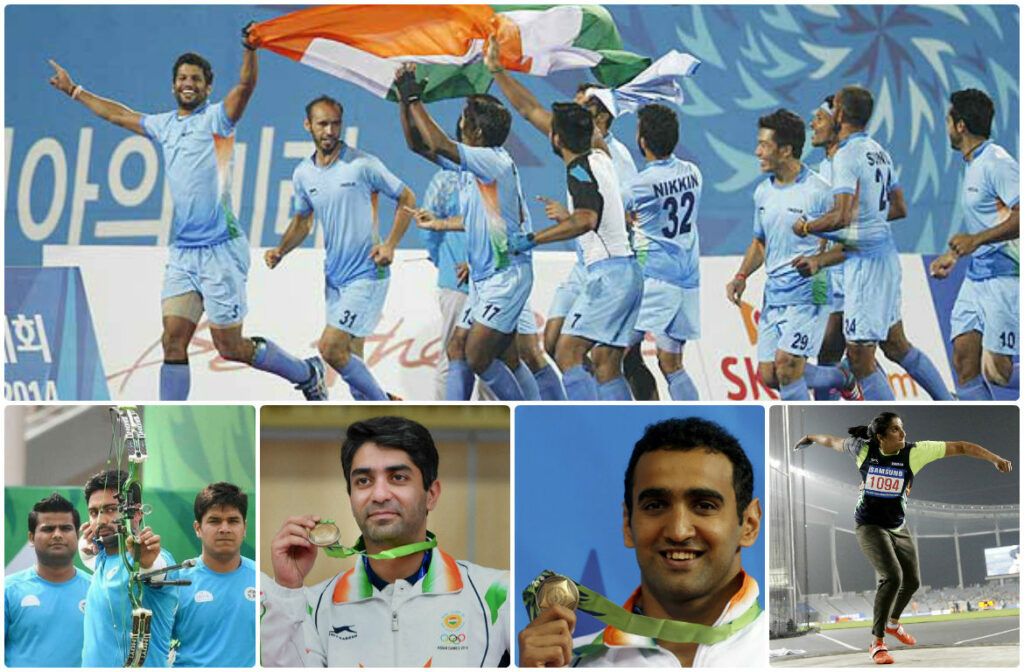 From top left (clockwise): Hockey team, Seema Poonia, Suneep Sejwal, Abhinav Bindra, Abhinav Bindra, Compound archery team.