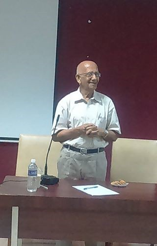 Dr. P. C. Angelo addressing the gathering in Guest Lecture for the first year students