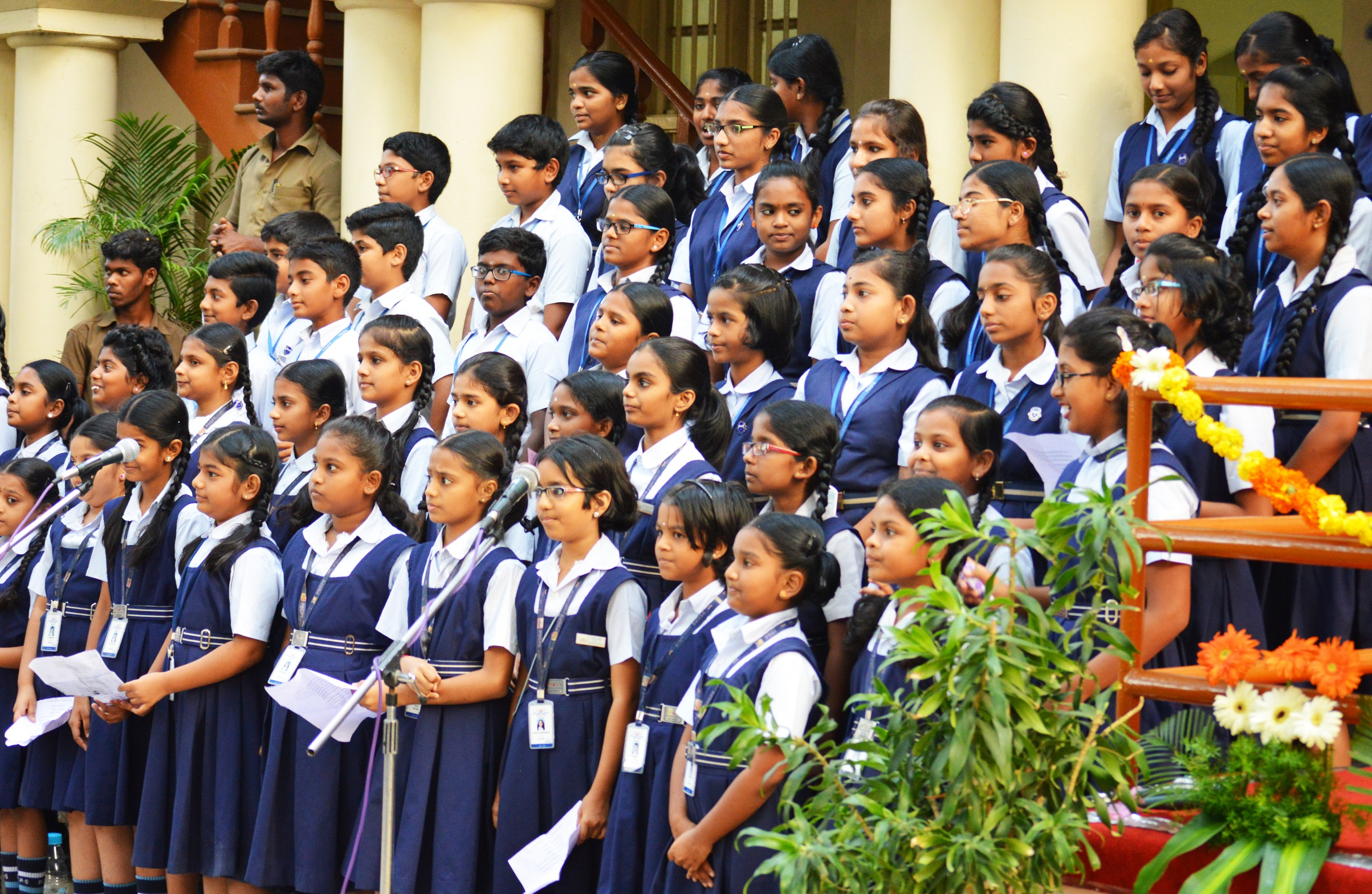 Practised school children waiting to sing for AR Rahman