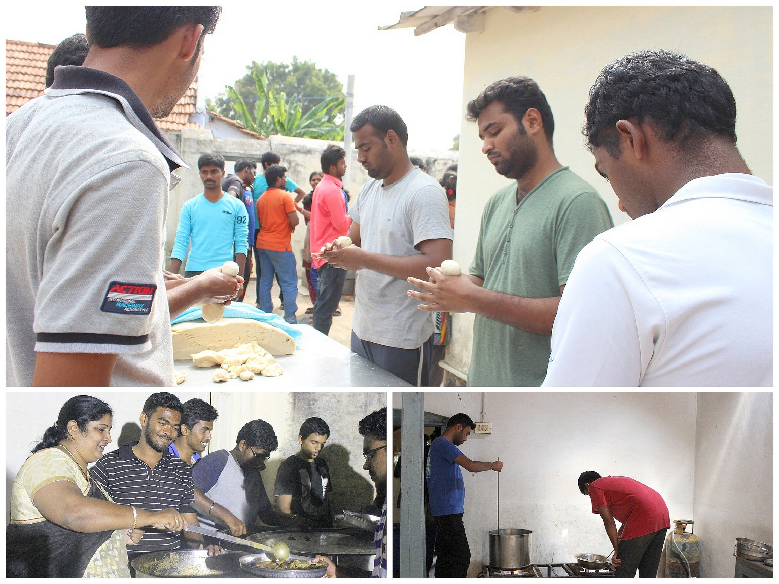 Clockwise from top: Catering team preparing breakfast, Food on time - Check, Dr.G.Menaka helping with dinner in the camp