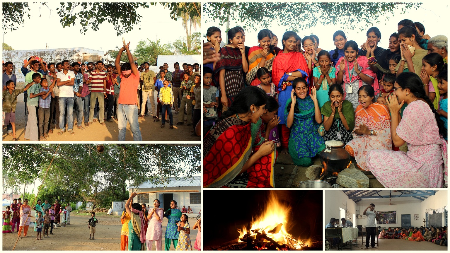 Clockwise from left: Pongal Celebrations, Continuing traditional values, Student Development Programme (SDPs), Camp fire