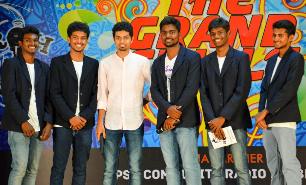 The MCs of the event with the Chief guest. (From left): Abinash, Gokul, Syed Subahan, Subash, Kawin, Sanjay