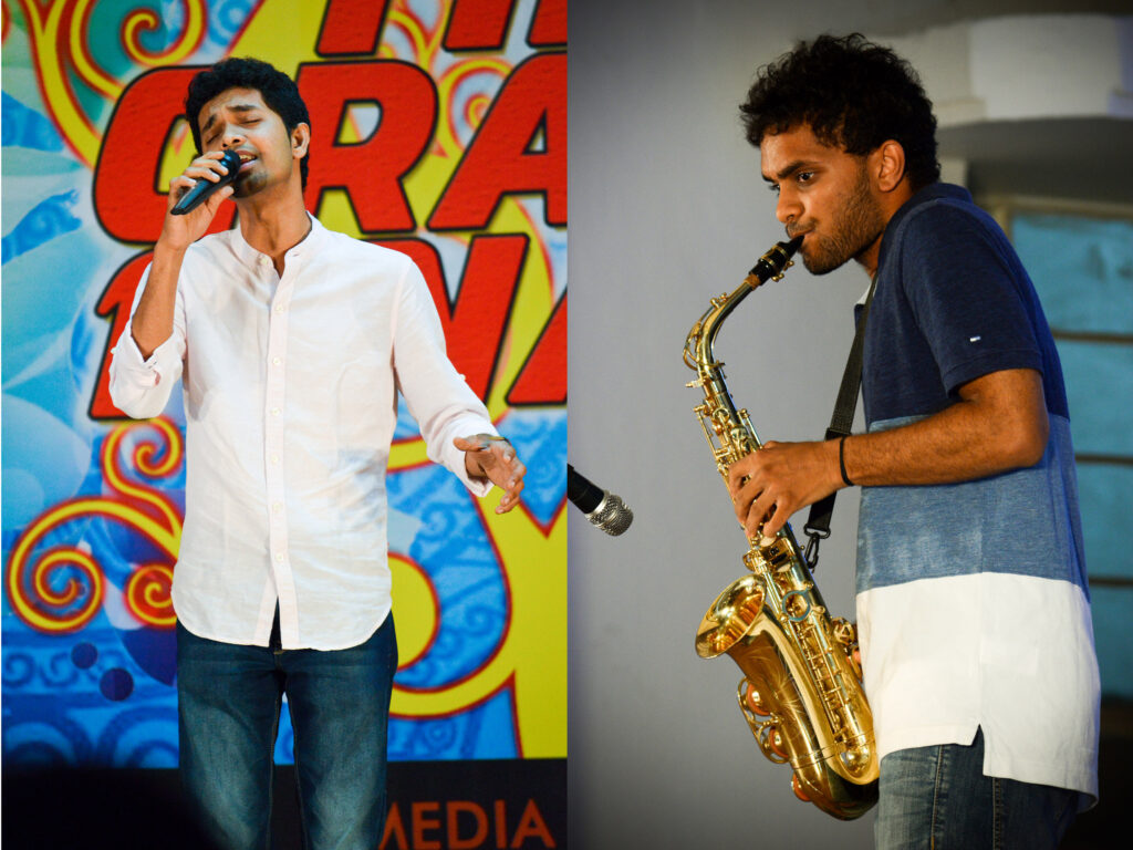 """(From left) : The Chief guest Syed Subahan performing """"Kanama"""". To the right, is Vikram, finalist of Tech's got talent performing """"Anjali """""""